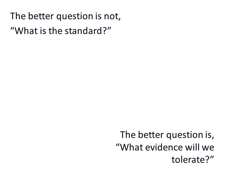 The better question is not, What is the standard