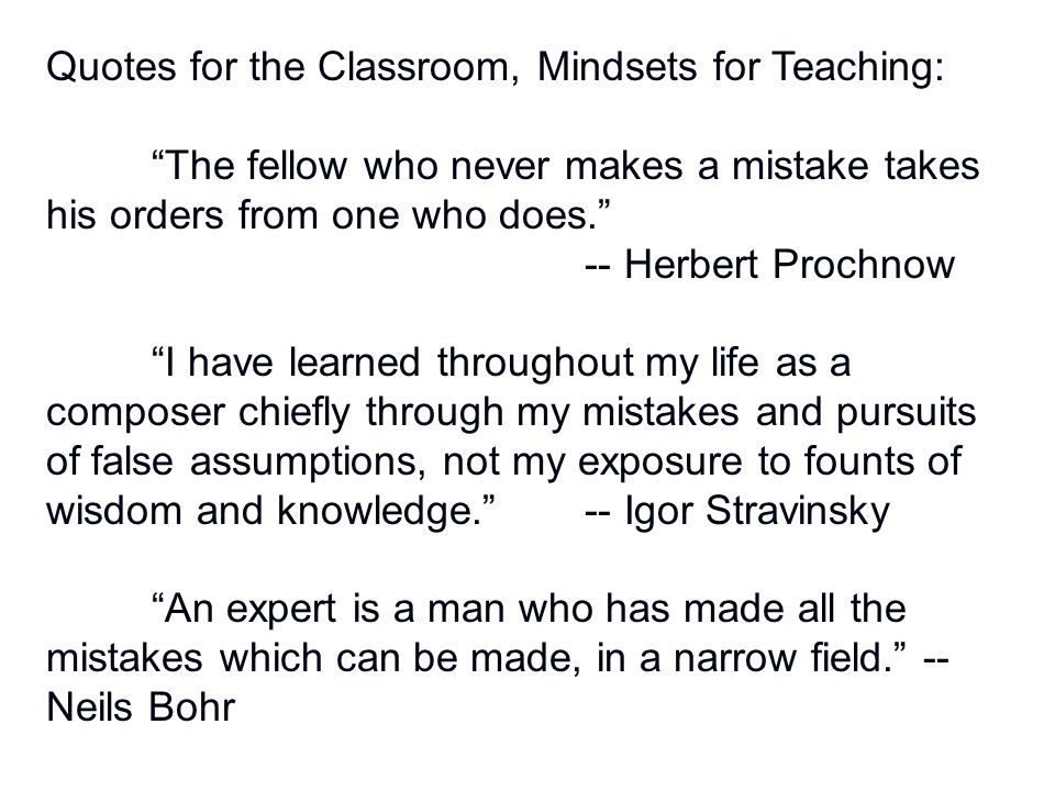 Quotes for the Classroom, Mindsets for Teaching: