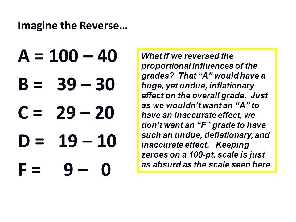 Imagine the Reverse… A = 100 – 40 B = 39 – 30 C = 29 – 20 D = 19 – 10 F = 9 – 0