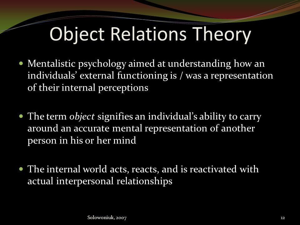 evaluate the approach of object relations theory Connection between object relations theory and attachment theory - free download as word doc (doc), pdf file (pdf), text file (txt) or read online for free.