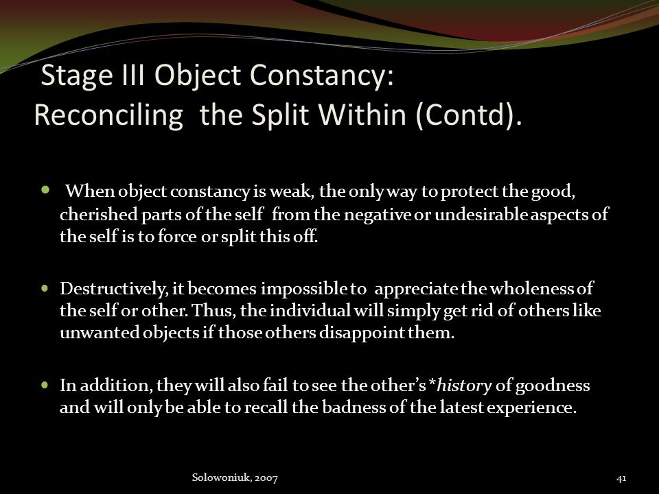 Stage III Object Constancy: Reconciling the Split Within (Contd).