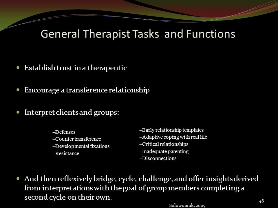 General Therapist Tasks and Functions