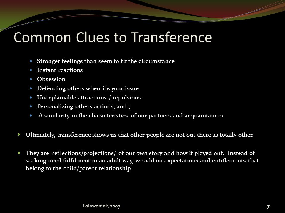 Common Clues to Transference