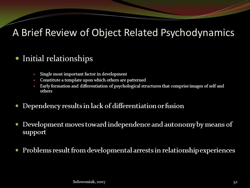 A Brief Review of Object Related Psychodynamics