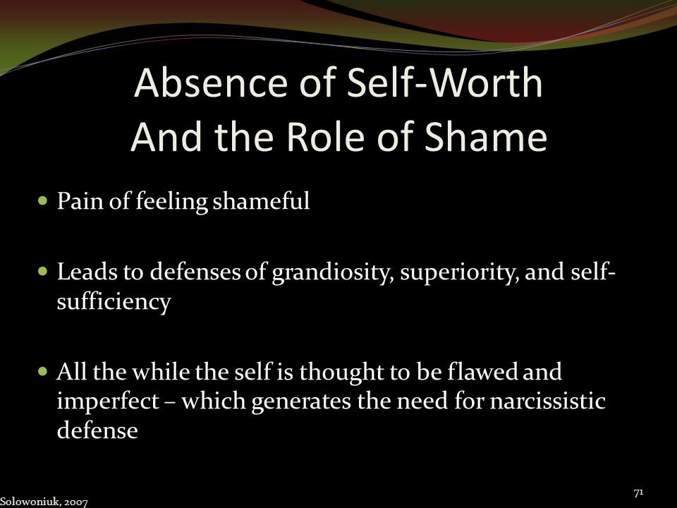 Absence of Self-Worth And the Role of Shame