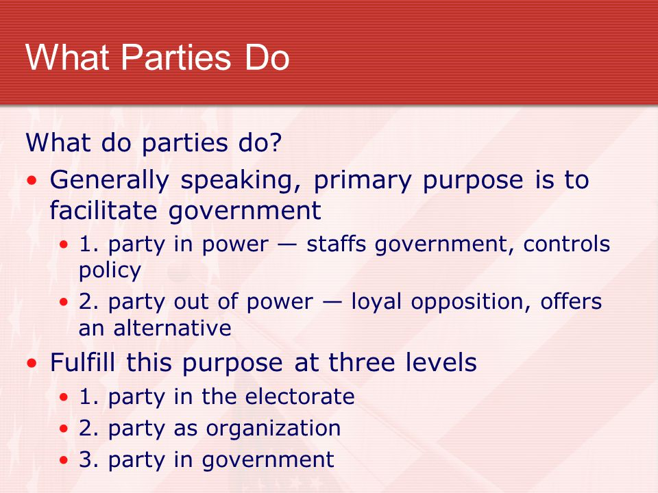 What Parties Do What do parties do
