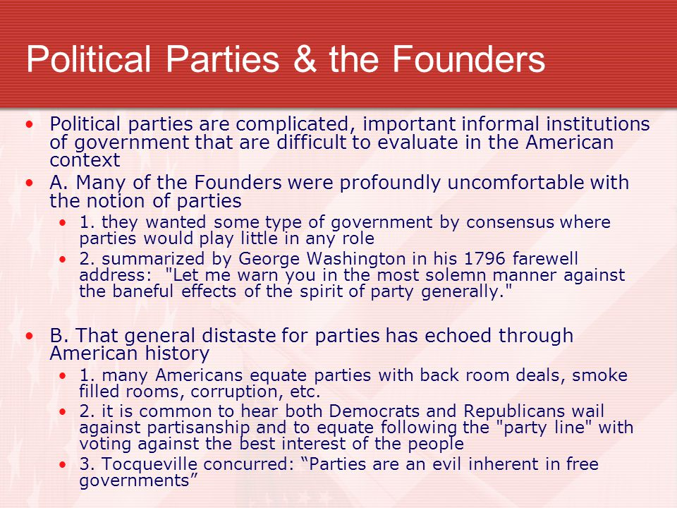 Political Parties & the Founders