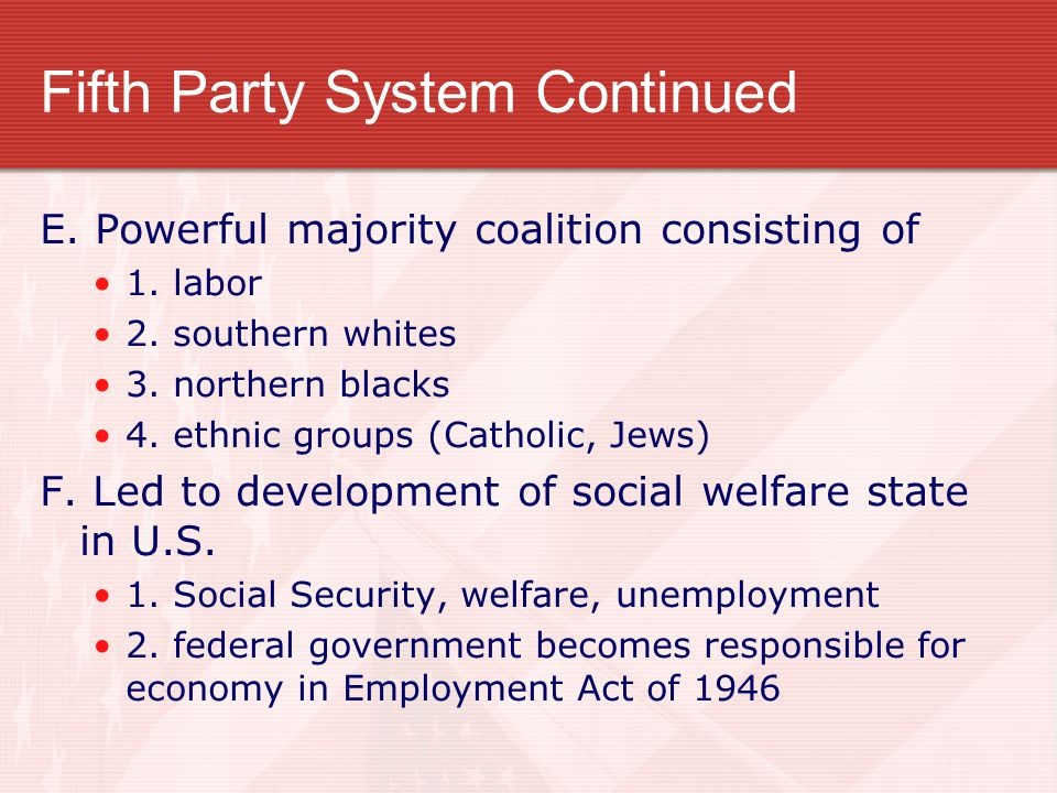 Fifth Party System Continued