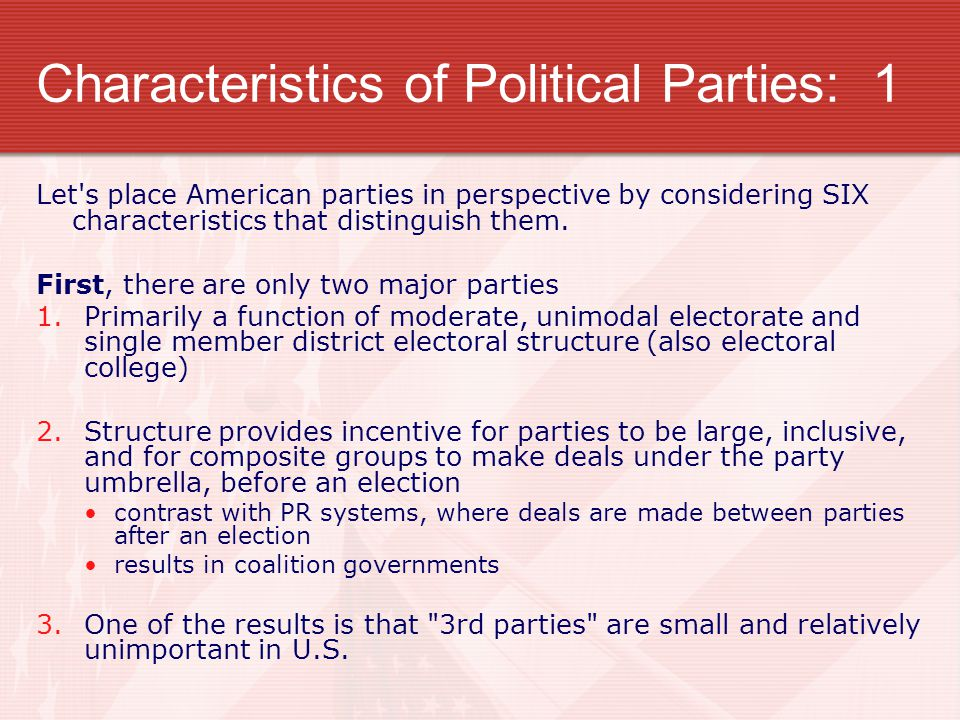 Characteristics of Political Parties: 1