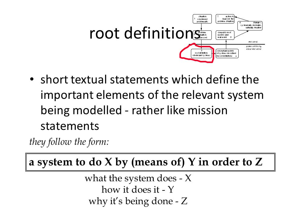 root definitions short textual statements which define the important elements of the relevant system being modelled - rather like mission statements.