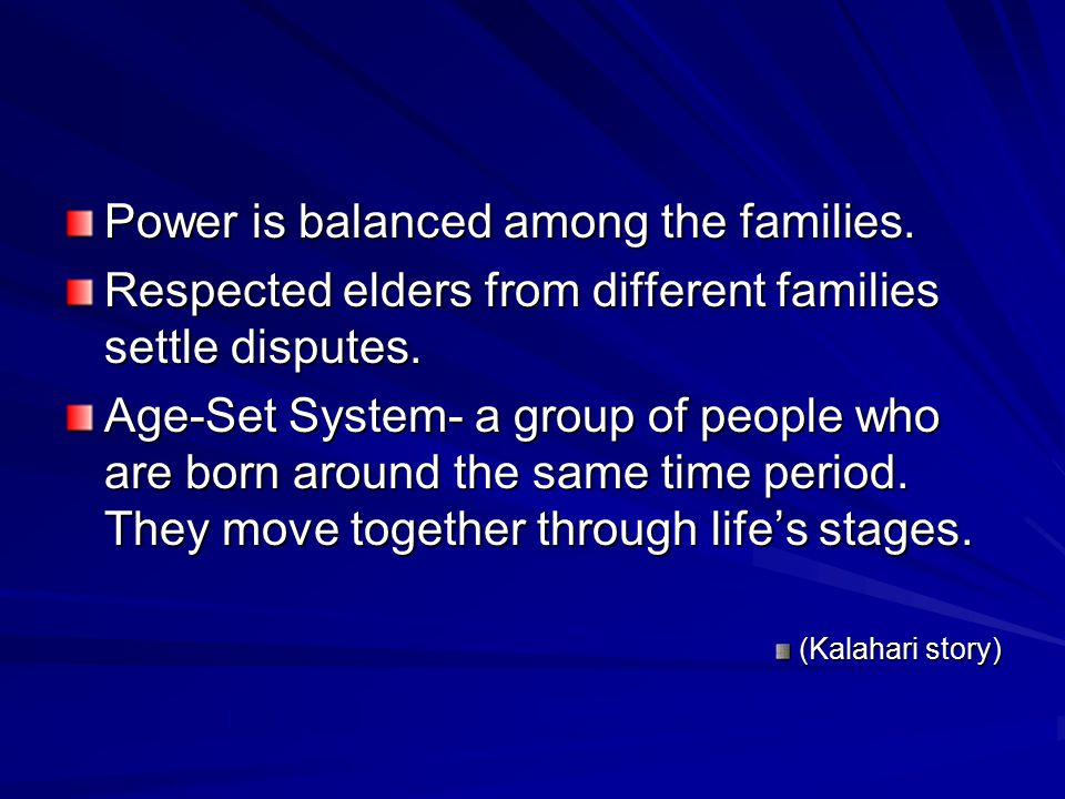 Power is balanced among the families.