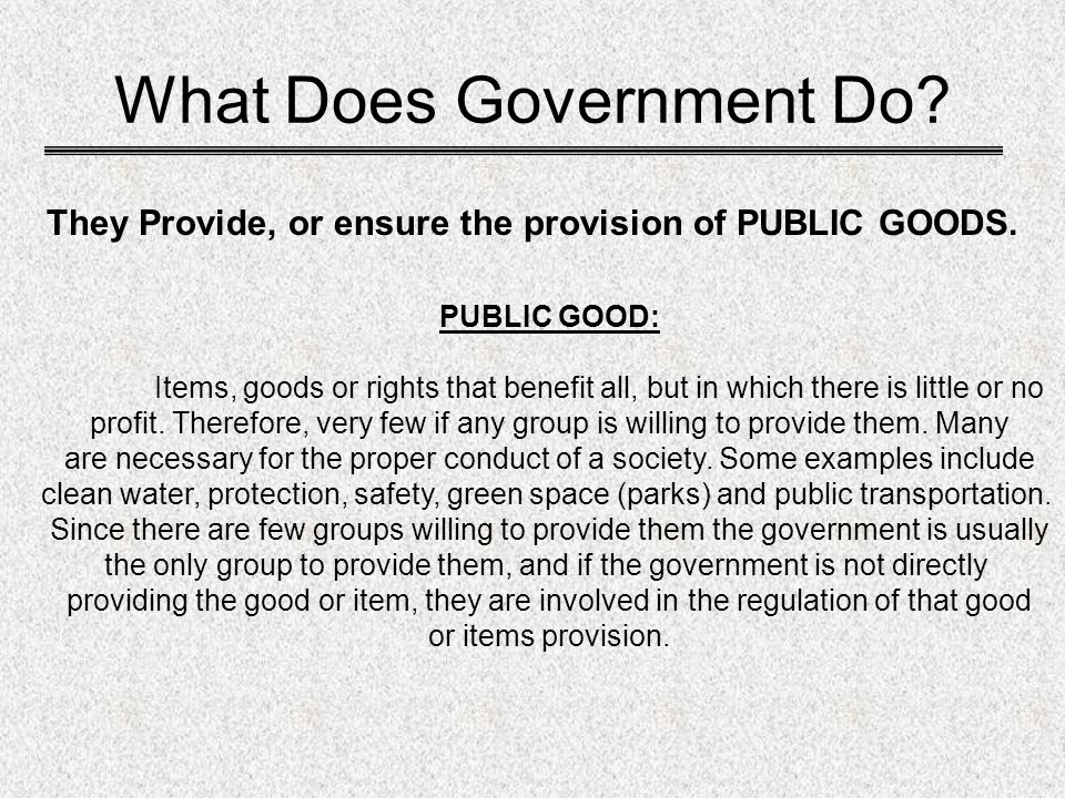 What Does Government Do