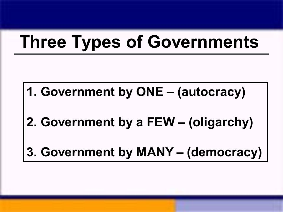 Three Types of Governments