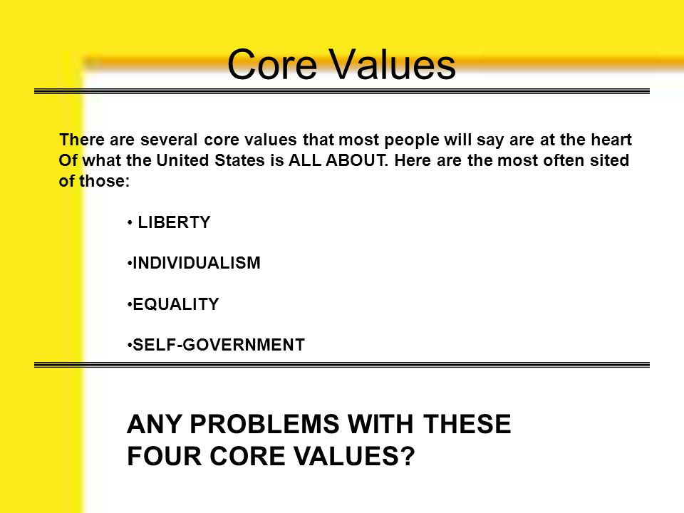 Core Values ANY PROBLEMS WITH THESE FOUR CORE VALUES