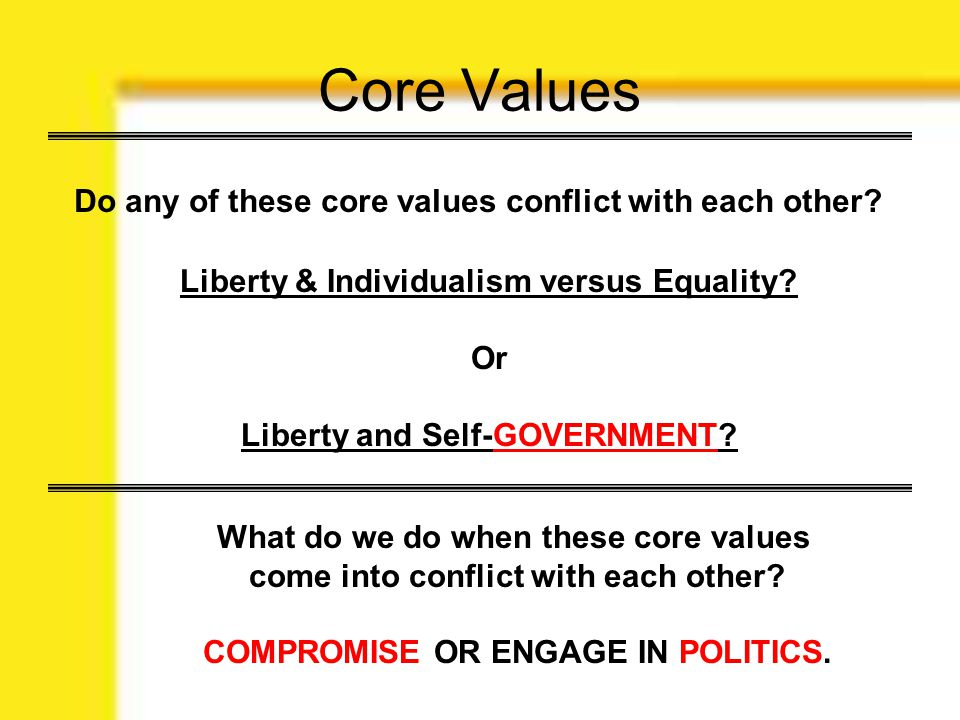 Core Values Do any of these core values conflict with each other