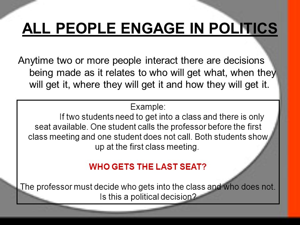 ALL PEOPLE ENGAGE IN POLITICS