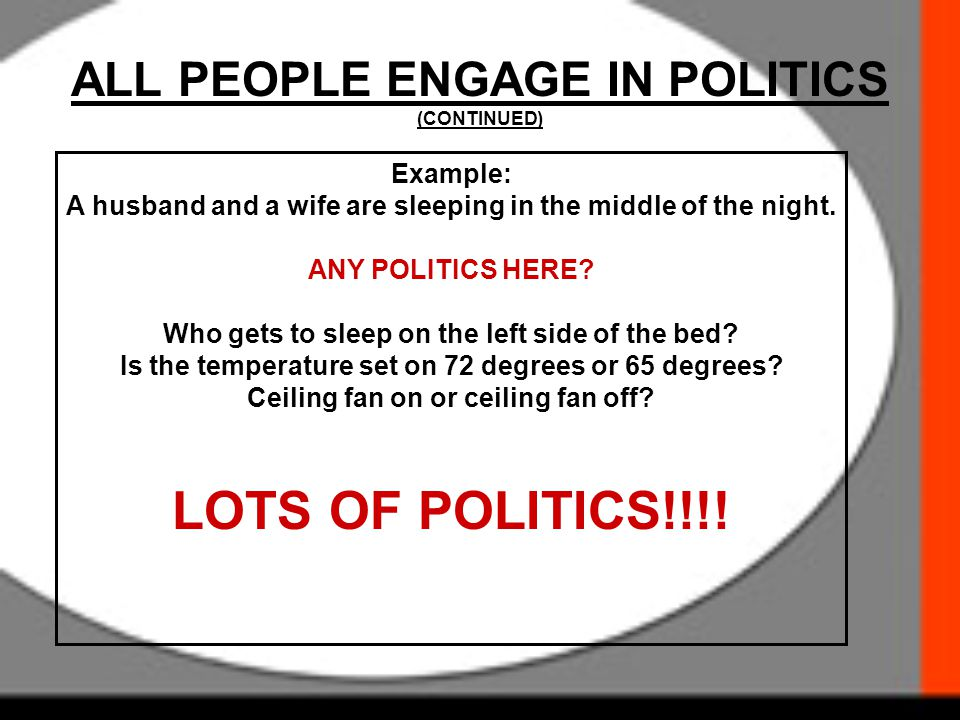 ALL PEOPLE ENGAGE IN POLITICS (CONTINUED)