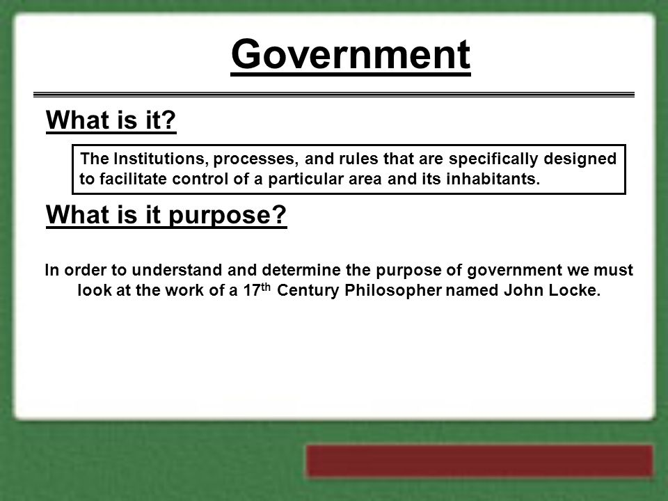 Government What is it What is it purpose