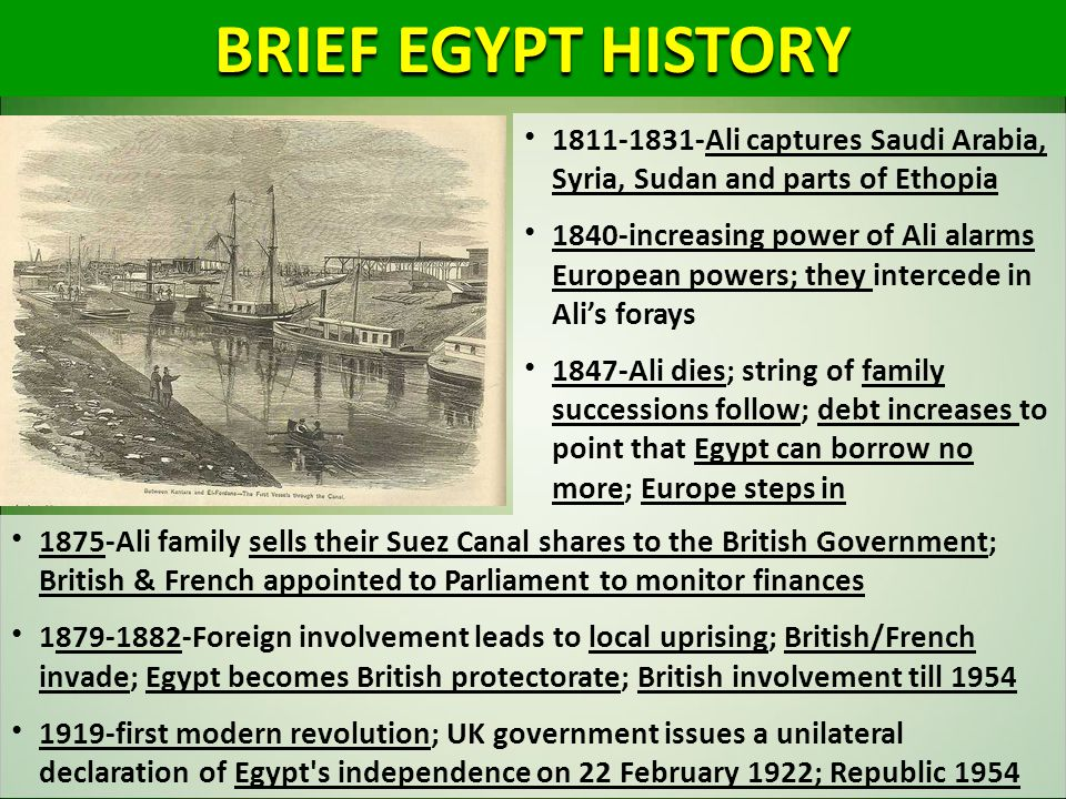 BRIEF EGYPT HISTORY 1811-1831-Ali captures Saudi Arabia, Syria, Sudan and parts of Ethopia.