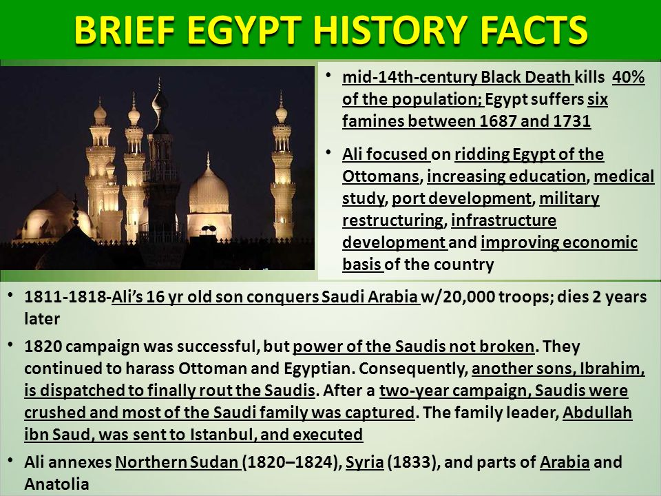 BRIEF EGYPT HISTORY FACTS