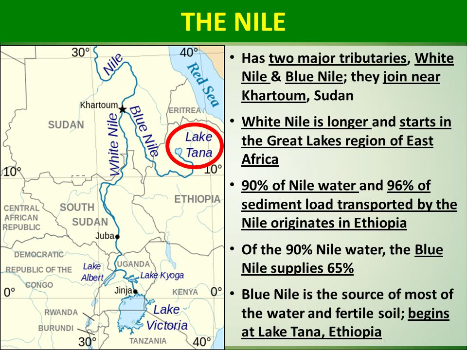 THE NILE Has two major tributaries, White Nile & Blue Nile; they join near Khartoum, Sudan.