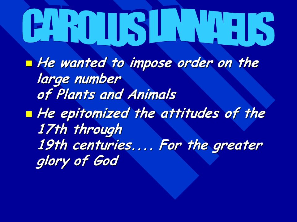 CAROLUS LINNAEUS He wanted to impose order on the large number of Plants and Animals.