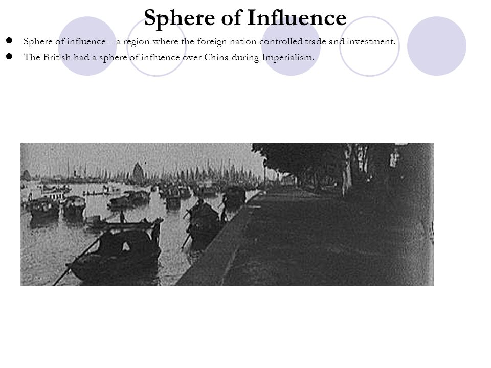 Sphere of Influence Sphere of influence – a region where the foreign nation controlled trade and investment.