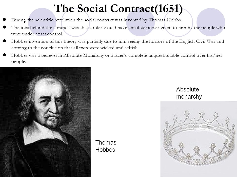 The Social Contract(1651) Absolute monarchy Thomas Hobbes