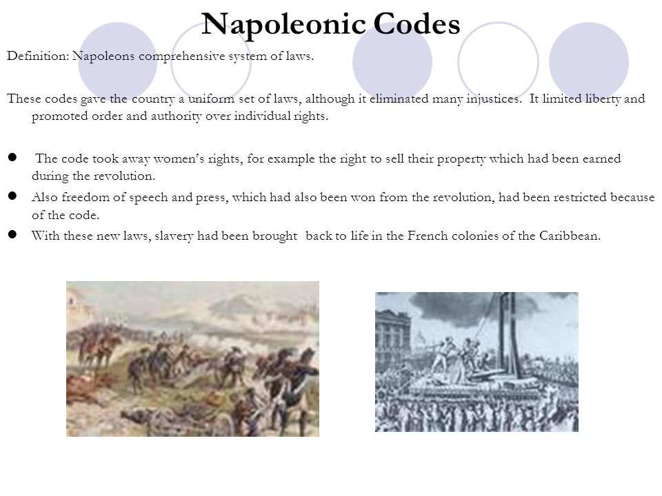 Napoleonic Codes Definition: Napoleons comprehensive system of laws.