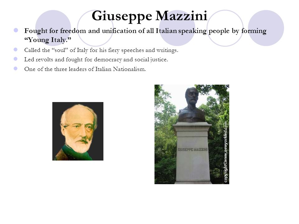 Giuseppe Mazzini Fought for freedom and unification of all Italian speaking people by forming Young Italy.