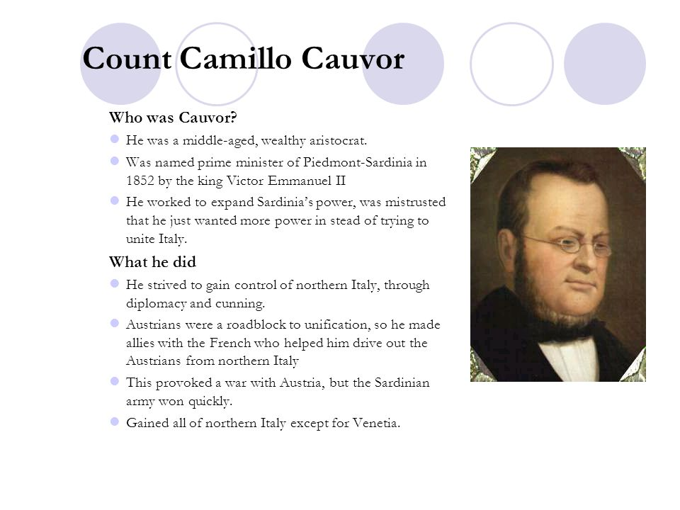 Count Camillo Cauvor Who was Cauvor What he did