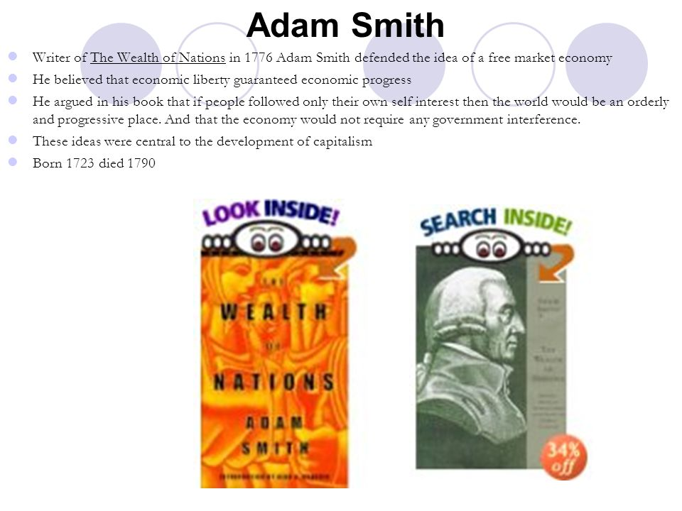 Adam Smith Writer of The Wealth of Nations in 1776 Adam Smith defended the idea of a free market economy.