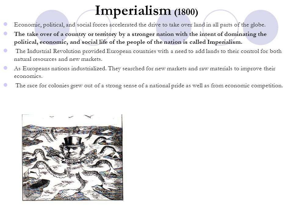 Imperialism (1800) Economic, political, and social forces accelerated the drive to take over land in all parts of the globe.