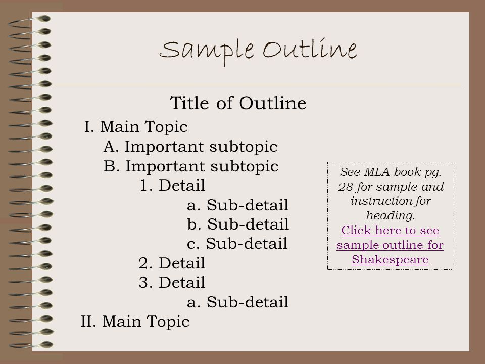 Sample Outline Title of Outline I. Main Topic A. Important subtopic