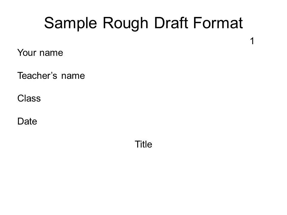 Sample Rough Draft Format