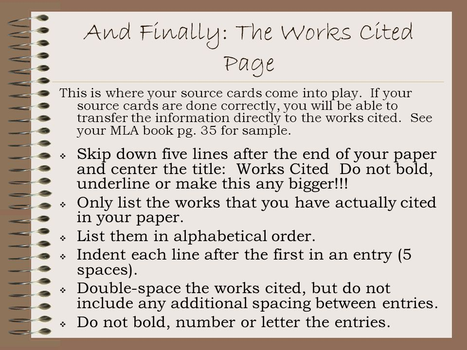 And Finally: The Works Cited Page
