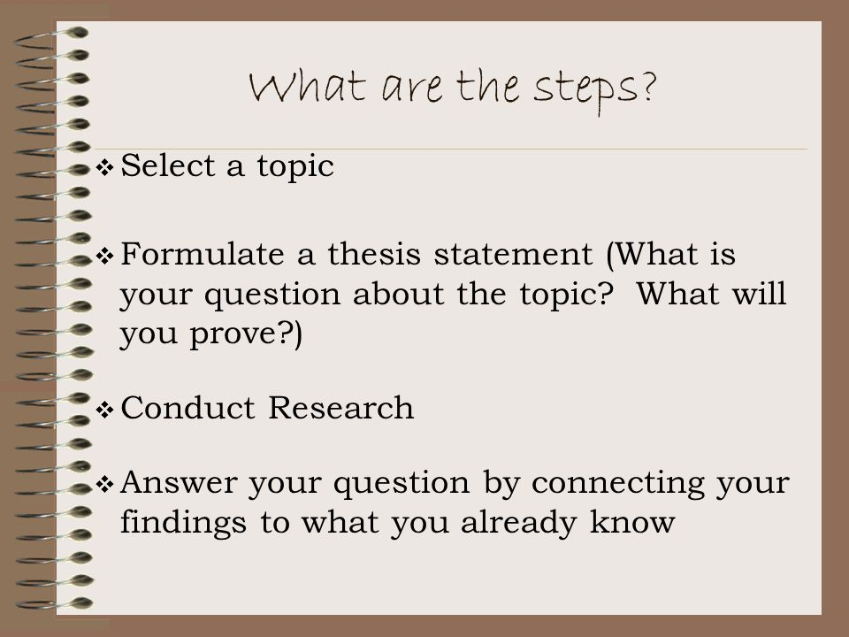 What are the steps Select a topic