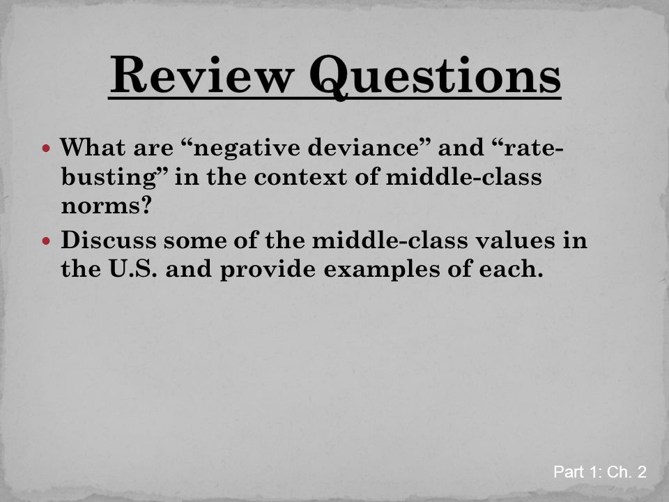 Review Questions What are negative deviance and rate- busting in the context of middle-class norms