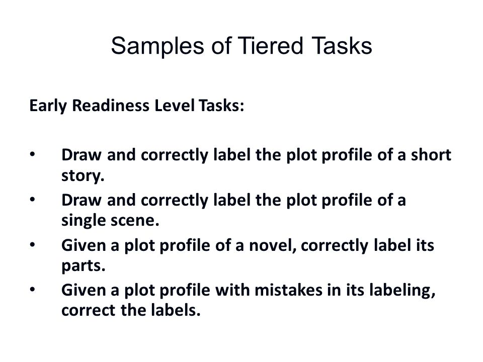 Samples of Tiered Tasks