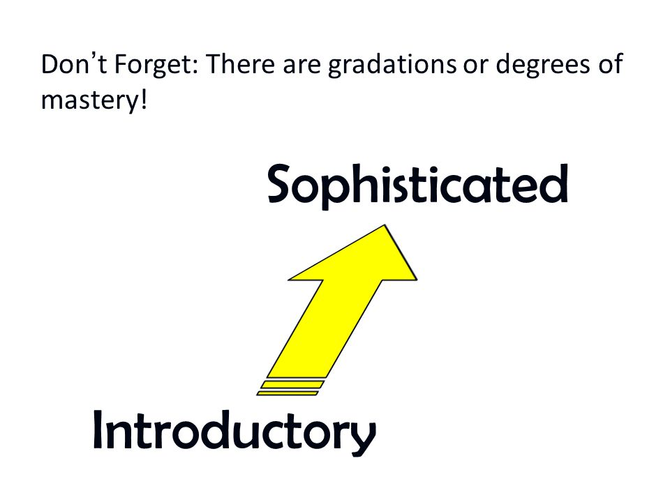 Don't Forget: There are gradations or degrees of mastery!