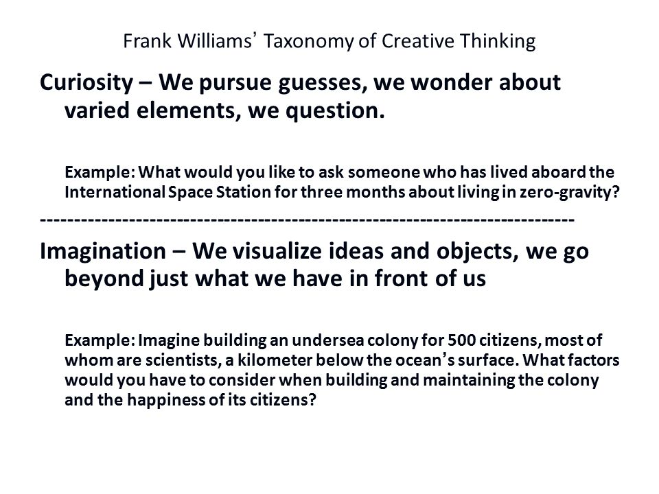 Frank Williams' Taxonomy of Creative Thinking