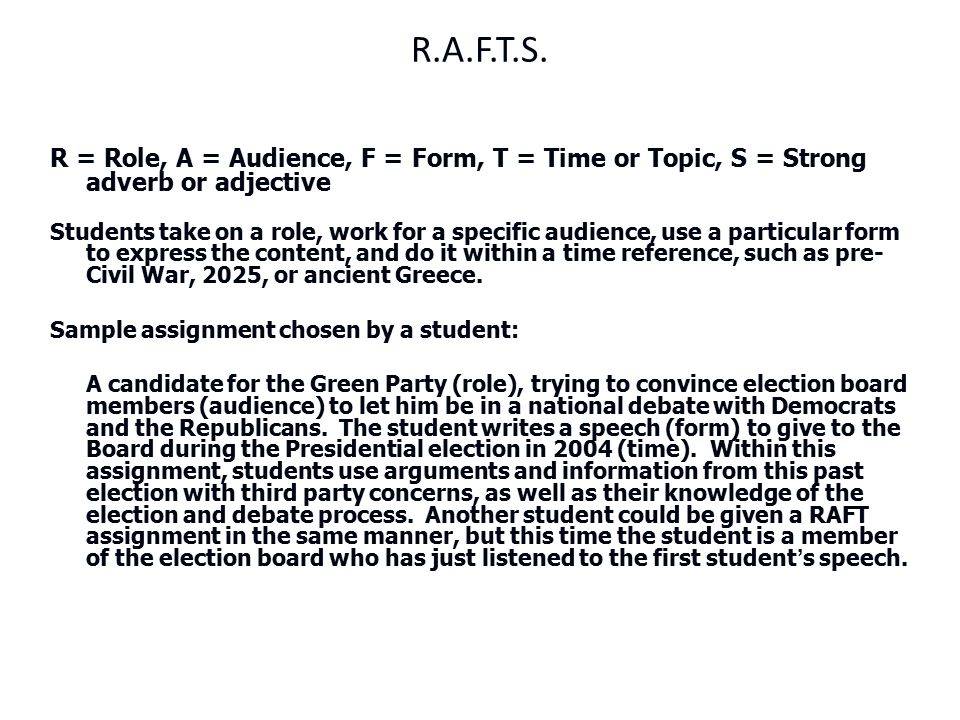 R.A.F.T.S. R = Role, A = Audience, F = Form, T = Time or Topic, S = Strong adverb or adjective.