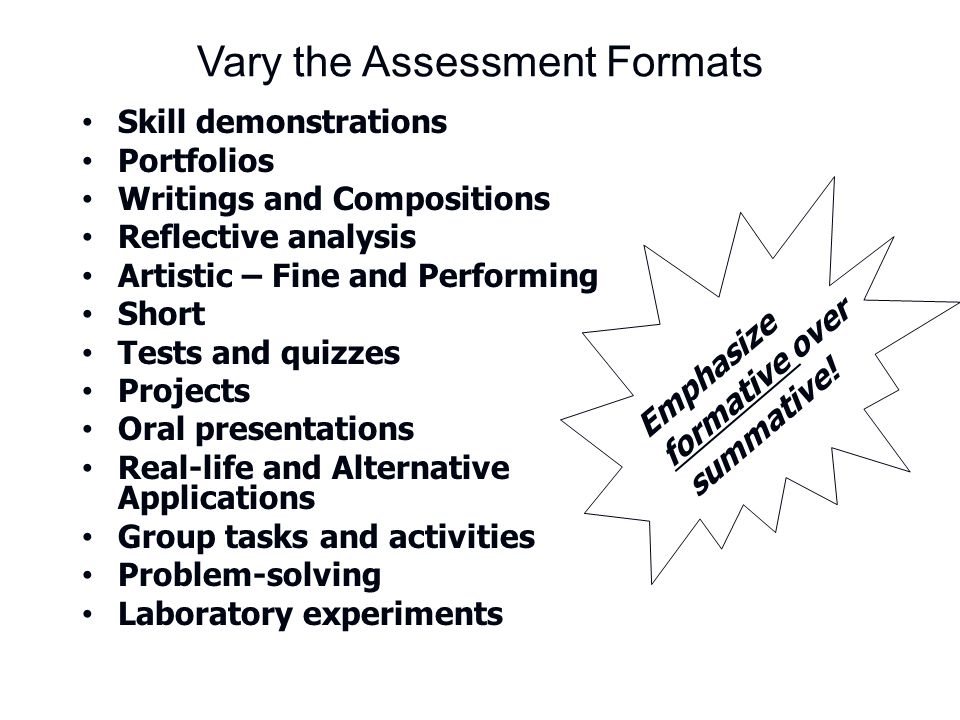 Vary the Assessment Formats