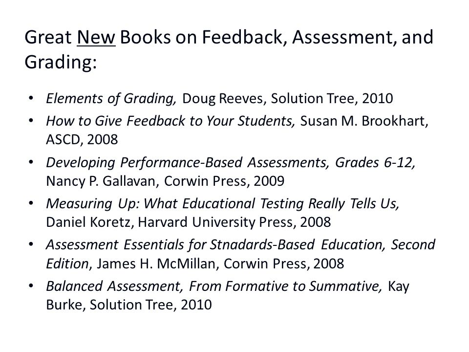 Great New Books on Feedback, Assessment, and Grading: