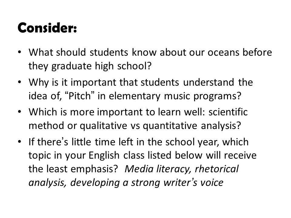 Consider: What should students know about our oceans before they graduate high school