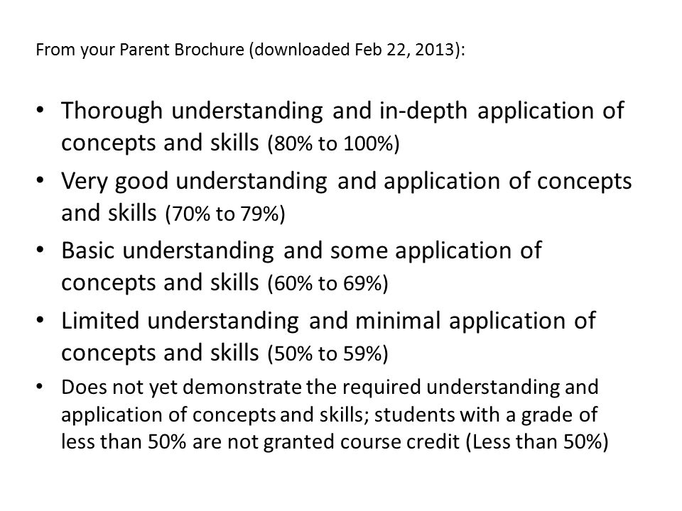 From your Parent Brochure (downloaded Feb 22, 2013):