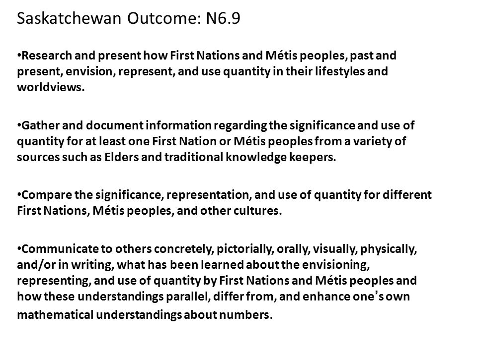 Saskatchewan Outcome: N6.9