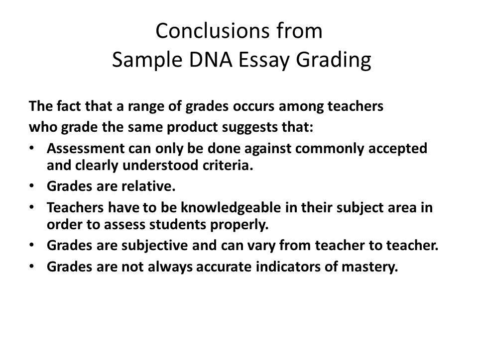 Conclusions from Sample DNA Essay Grading