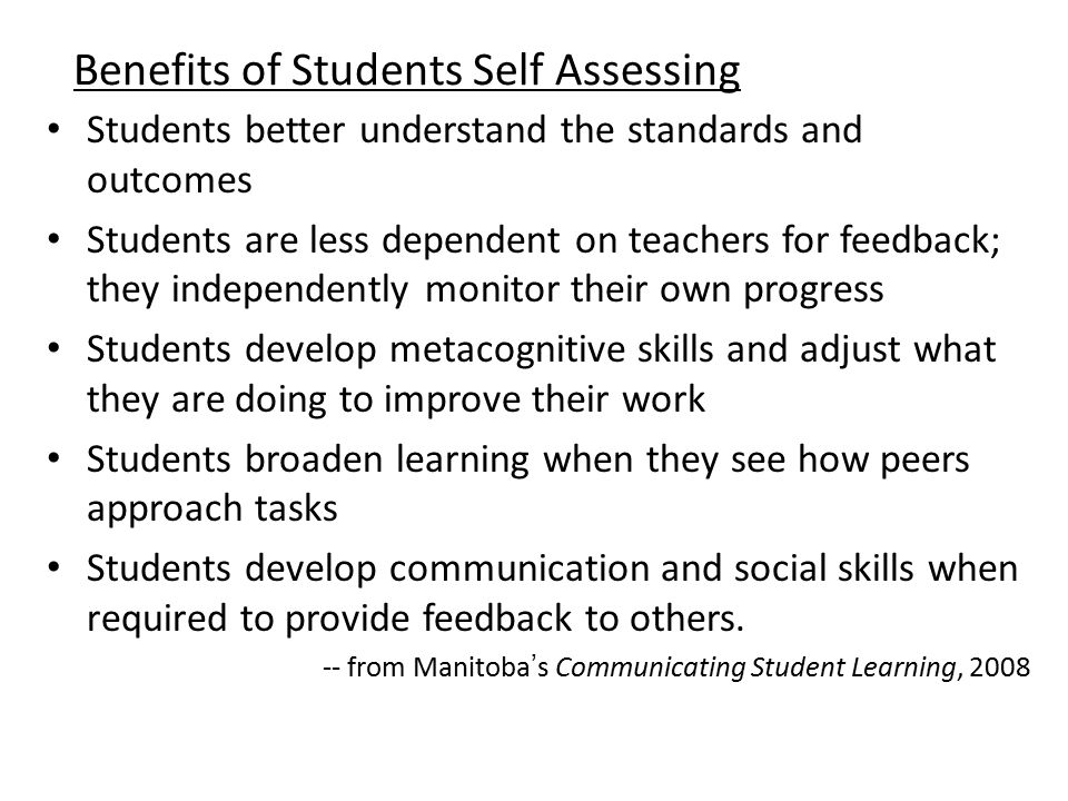 Benefits of Students Self Assessing