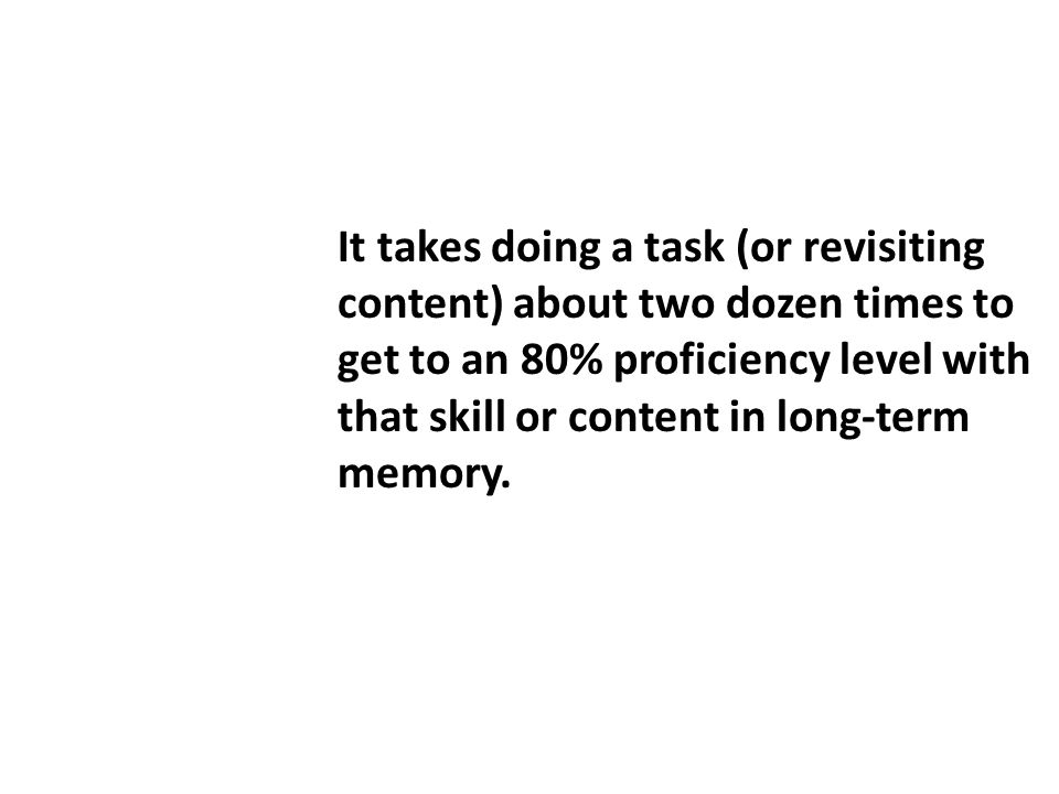 It takes doing a task (or revisiting content) about two dozen times to get to an 80% proficiency level with that skill or content in long-term memory.